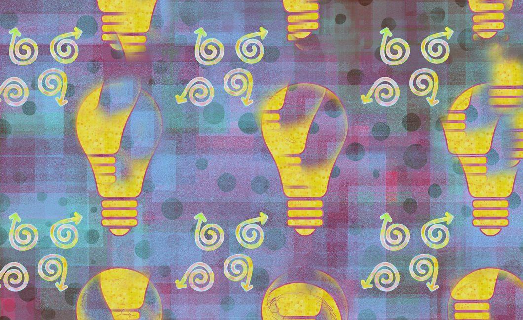 Koristeellinen kuvituskuva, jossa on erilaisia graafisia muotoja sekä hehkulamppuja.